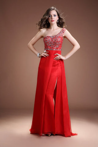 Front Split One Shoulder Red Beaded Open Back Prom Dresses ED0834