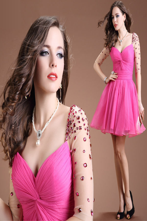 Half Sleeves Beaded V-neck Open Back Homecoming Dresses ED0835