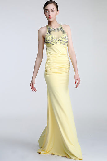 Daffodil Long Beaded Open Back Prom Evening Dresses ED0837