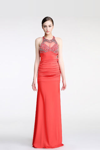 Backless Watermelon Sheath Mermaid Beaded Prom Dresses ED0845