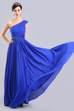One Shoulder Chiffon Long Royal Blue Simple Prom Dresses ED0852