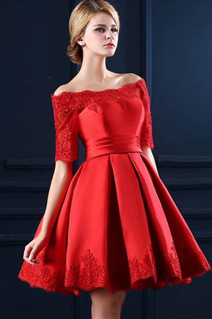 Lace Boat Neckline Red Lace Up Homecoming Dress,Half Sleeve Lace Homecoming Cocktail  Dresses ED0868