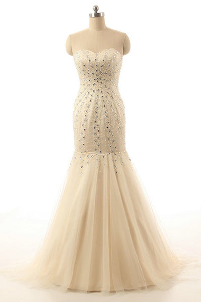 Mermaid Open Back Sweetheart Long Champagne Prom Dresses ED1015