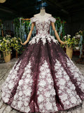 Sparkly Off the Shoulder Long Prom Dress with Flowers, Ball Gown Quinceanera Dresses N2494