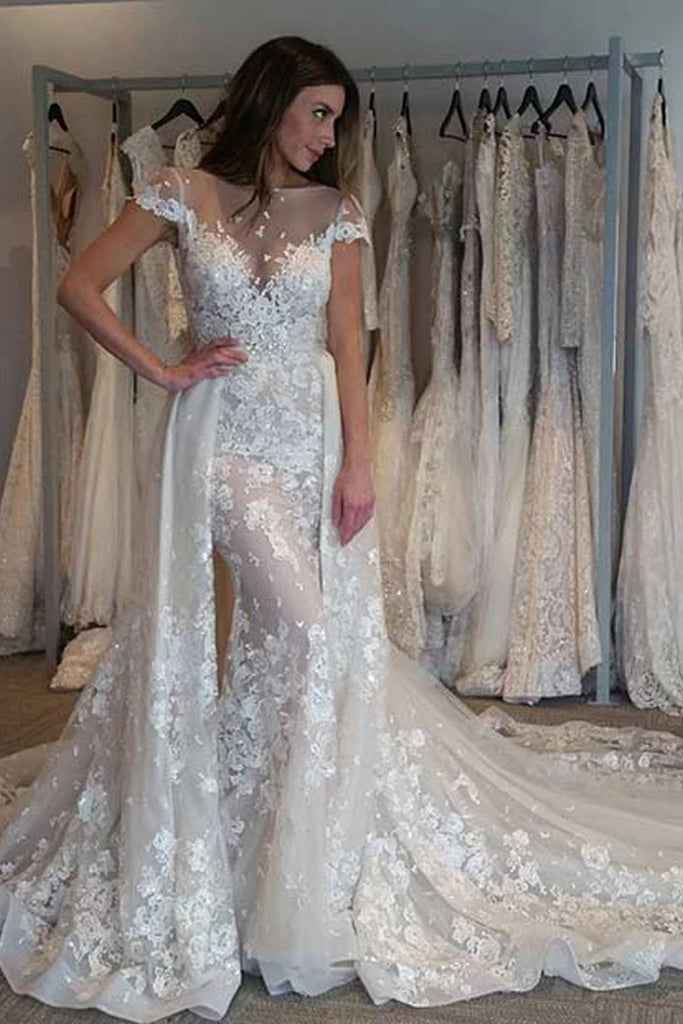 Gorgeous Cap Sleeves Sheer Neck Long Wedding Dress with Detachable Train N2485