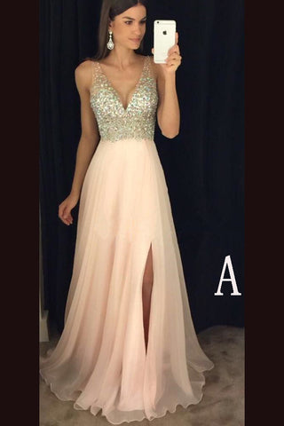 Sexy V Neckline Prom Dress With Side Slitformal Dresses For Teens