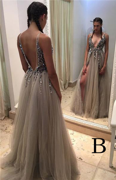 Gray Deep V-neck Side Slit Prom Dresses,Tulle Sleeveless Formal Dress With Sequins and Beads,N05