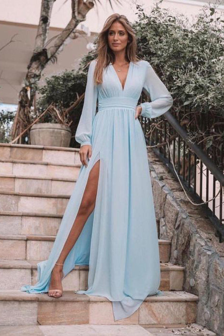 Light Blue Long Sleeves V Neck Chiffon Prom Dress, Elegant Split Long Formal Dresses N2604