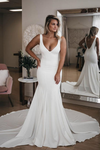 Simple V Neck Mermaid Wedding Dress with Long Train, Sexy Backless Beach Wedding Dress N1723