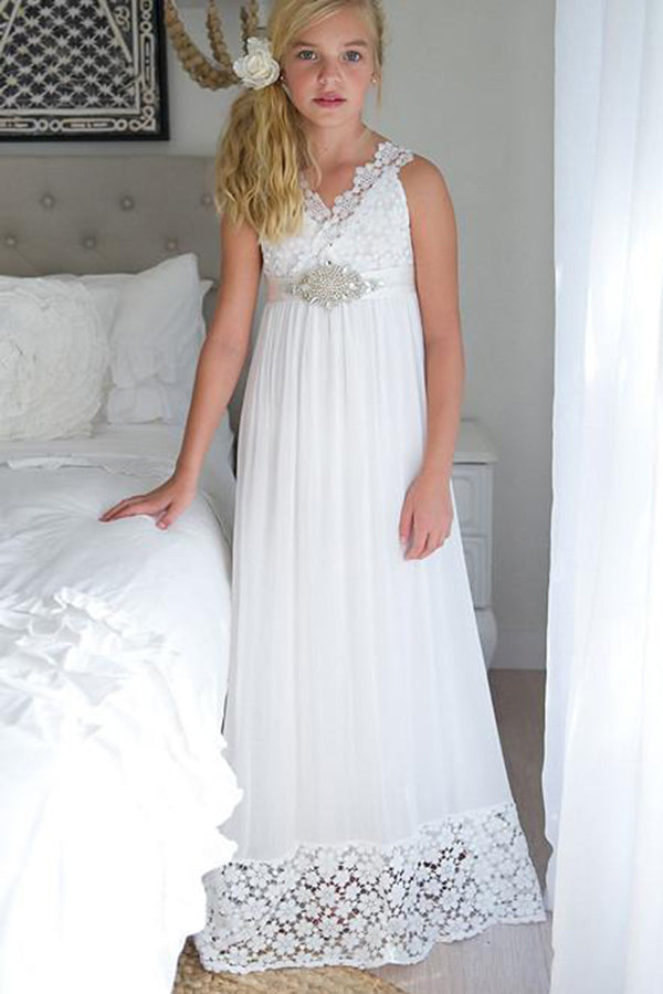 A Line Sleeveless Chiffon Empire White Long Flower Girl Dress with Lace F015