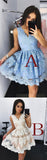 Cute Mini V-Neck Blue Homecoming Dress,Lace Appliqued Short Prom Dress,Sweet 16 Dress,N220