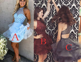 A-Line Light Blue Jewel Sleeveless Beading Mini Tulle Homecoming Dresses,Party Dresses,N311