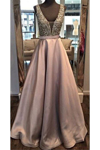 Beaded Backless A line Prom Dresses,2017 Long Party Dress,Custom Long Evening Dress,Cheap Party Prom Dress,Formal Dress Long,N132