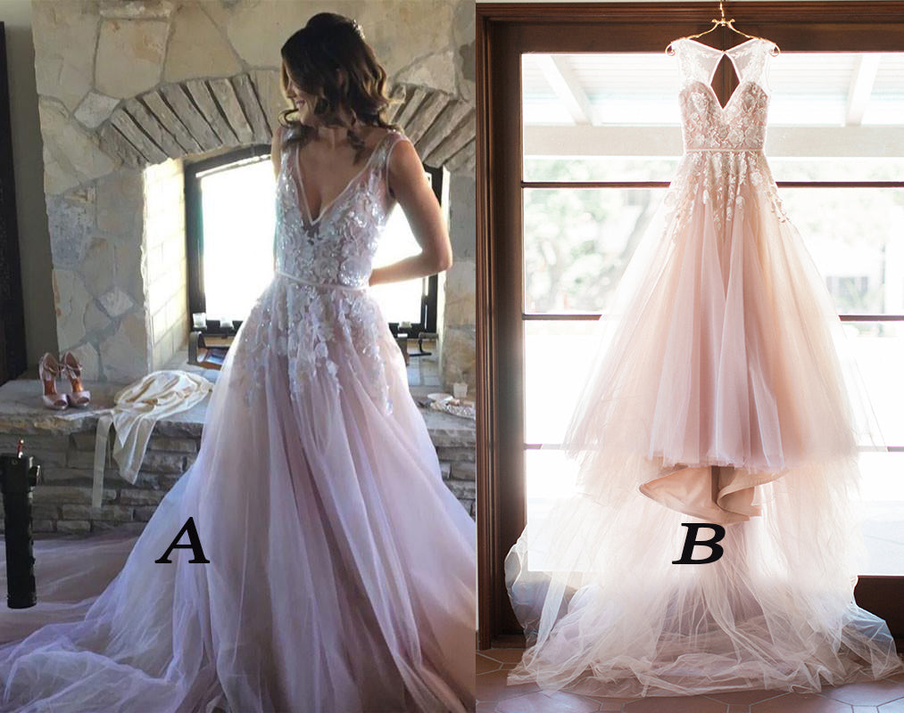 A Line Tulle Simple Wedding Dresses With Beading Off The: A-line V-neck Lilac Appliques Tulle Long Wedding Dress