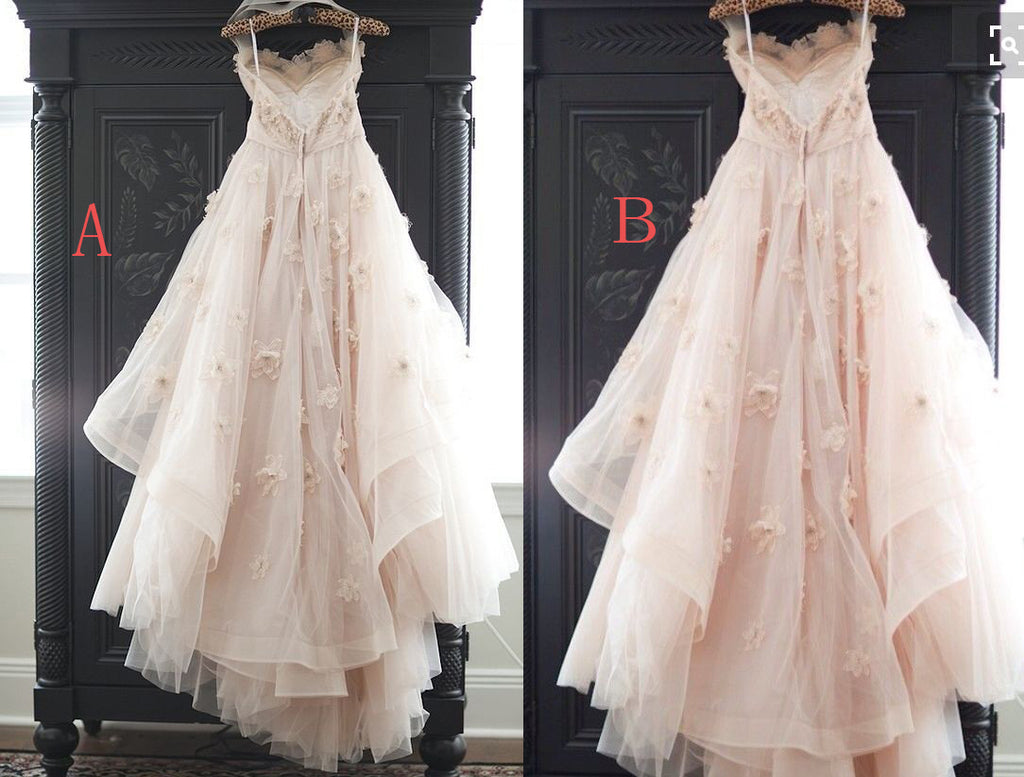 A Line Tulle Simple Wedding Dresses With Beading Off The: Light Pink Princess Tulle Wedding Dress With Flowers,Lace