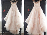 Appliqued Tulle Wedding Gowns,Princess Wedding Dress With Flowers,Ball Gown Wedding Dress,N110