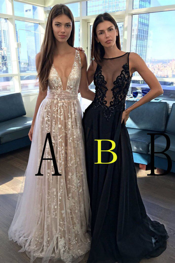 A-Line Deep V-Neck Sleeveless Tulle Lace Appliques Long Prom Dress