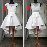 Popular Sexy High Low Cap Sleeve Homecoming Dresses with Belt,Short Prom Gown,N275