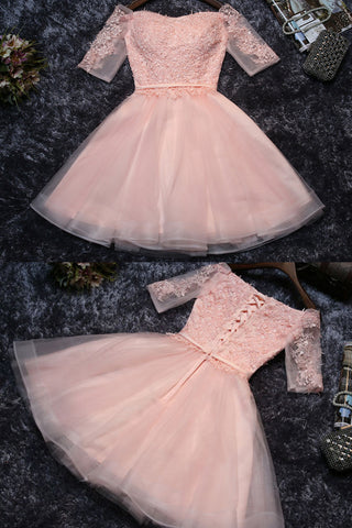 Pink Cute Appliques Tulle Half Sleeves Short Prom Dress,Mini Off-shoulder Homecoming Dress,N245