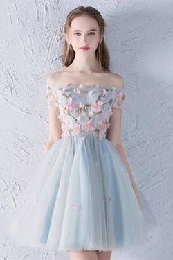 Cute Off the Shoulder Short Prom Dress with Flowers, A Line Appliqued Homecoming Dress N1943