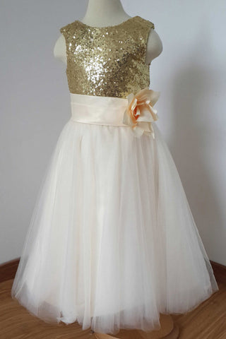 A Line Sleeveless Floor Length Gold Sequin Tulle Flower Girl Dress with Flower