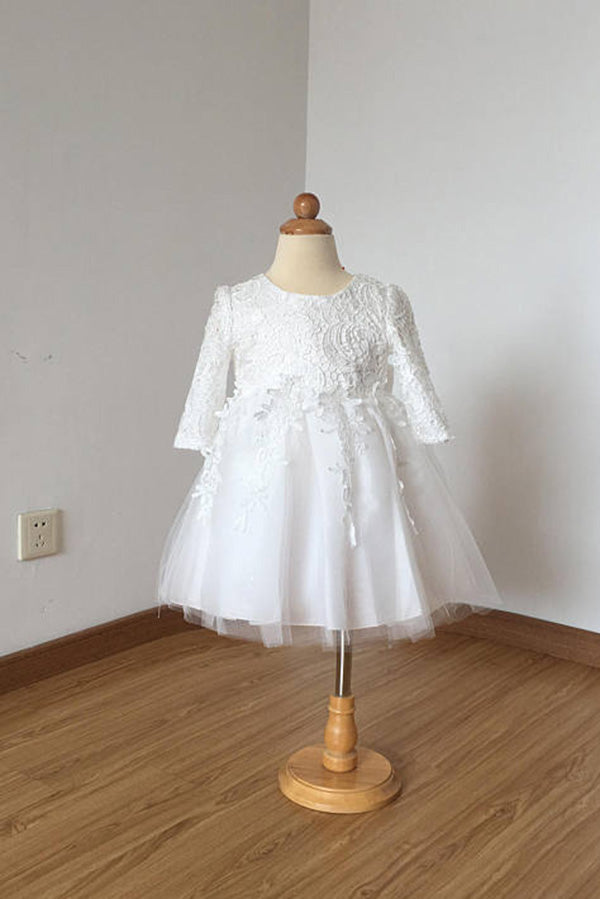 Cheap Floor Length Ivory Lace Tulle Long Sleeves Flower Girl Dress with Bow