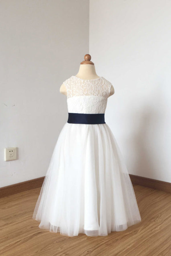 Cute Long Ivory Open Back Lace Tulle Flower Girl Dress with Navy Blue Bow