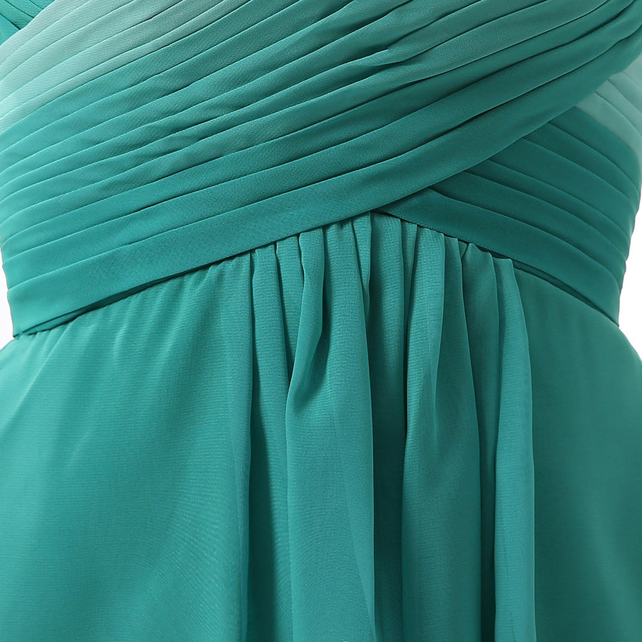 Unique Jade Ombre High-Low Sweetheart Chiffon Bridesmaid Dress with Pleats,N667