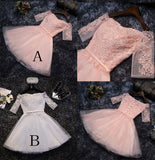 Cute Appliques Tulle Half Sleeves Short Prom Dress,Mini Off-shoulder Homecoming Dress,N245