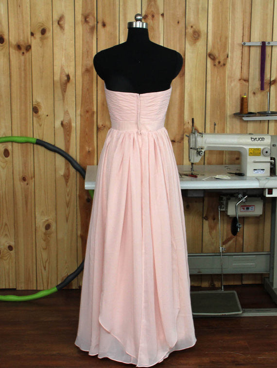 Convertible Blush Bridesmaid dress,One Shoulder Wedding Party dress,Sweetheart Prom Dress,N79