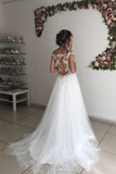 White Tulle Off Shoulder Long Wedding Dresses, Sheer Back Sexy Bridal Dress N2651