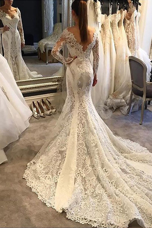 Trumpet V-neck Long Sleeves Court Train Lace Wedding Dresses, Mermaid Lace Bridal Dress N846