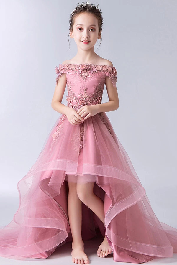 High Low Gorgeous Off the Shoulder With Lace Appliques Sleeveless Tulle Flower Girl Dresses F071