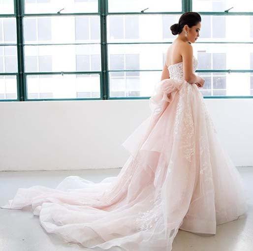 Gorgeous Princess Pink Sweetheart Court Train Wedding Dresses with Lace and Tulle,N660