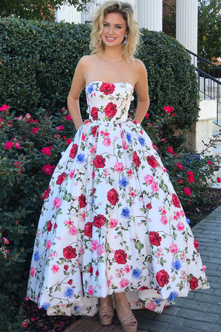Gorgeous Strapless Sleeveless Floral Long Prom Dress Graduation Dress,N675