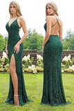 Green Sexy Sequins Prom Dress with Side Slit, Shiny Mermaid Long Prom Gown N1575