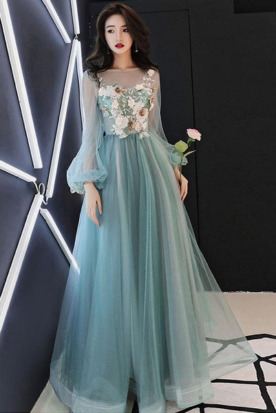 Charming Long Sleeves Tulle Prom Dress with Flowers, A Line Floor Length Party Dress N1758