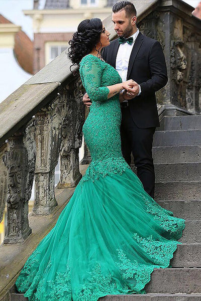 Green Mermaid V-neck Tulle Applique 3/4 Sleeves Long Plus Size Prom Dresses N1221