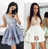 New Arrival A-Line Sleeveless V-Neck Short Homecoming/Prom Dress with Appliques,N216