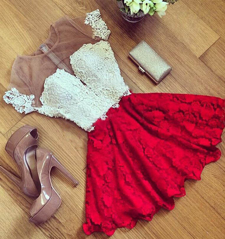 Red Lace Short Sleeve Homecoming Dress,Cheap Cocktail Dresses,Party Dresses,N255