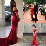 Red Off the Shoulder Split Mermaid Prom Dress, Long Formal Dresses with Slit N1685