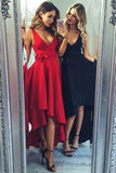 Simple Red High Low V-neck Sleeveless Party Dress,Cheap Sexy Navy Blue Prom Dress,N706