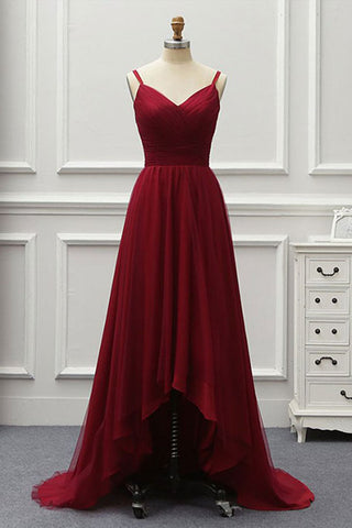 A Line High Low Tulle Prom Dress with Train, Burgundy V Neck Backless Formal Dress N1692