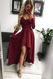 High Low Long Sleeves V Neck Prom Dress, Burgundy A Line Graduation Dress with Lace N1689