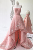 High Low Appliqued Prom Dresses Strapless Asymmetrical Lace Long Prom Dress