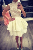 Ivory High Neck Satin Homecoming Dress with Lace, Short Two Layers Prom Dress