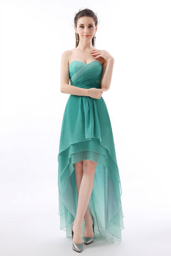 1f2bd9ca3ec Unique Jade Ombre High-Low Sweetheart Chiffon Bridesmaid Dress with  Pleats