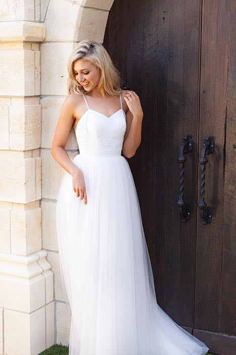 Hot Summer Boho Beach Wedding Dress Long Tulle Spaghetti Straps Prom Dress,N739