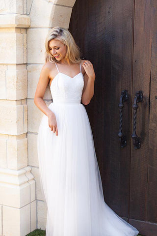Boho Beach Wedding Dress Cheap Long Tulle Spaghetti Straps Prom