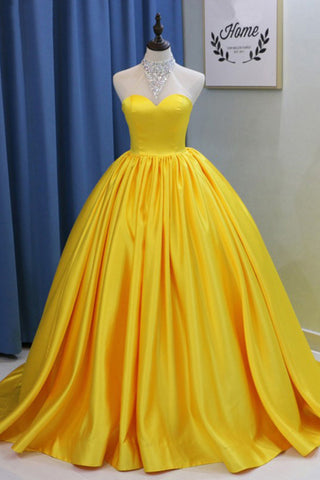 Yellow Ball Gown High Neck Prom Dress with